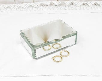 Vintage French Beveled Mirrored Jewelry Box with Satin Lining, Jewelry Trinket Glass Casket, French Shabby Chateau Chic Decor