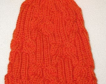 100% Wool Hand Knit Hat - hunter orange with cable texture