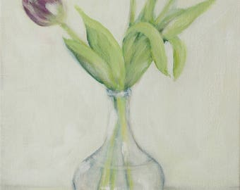 """Tulips Flower Painting -  Acrylic on Canvas 15"""" x 11"""" """"Violet Tulips"""""""