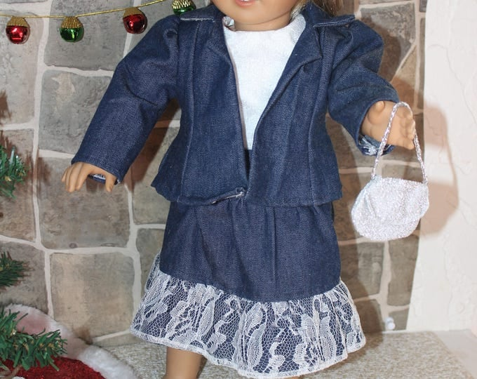 Blue Denim Coat,Hat,Skirt and White Lace Top. Handmade to fit Dolls Like American Girl,Our Generation, and Other 18 inch Dolls FREE SHIPPING