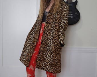 Vintage Leopard Print Quilted Housecoat