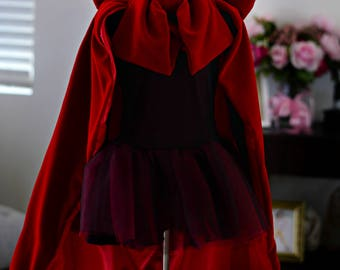 Velvet and Satin Hooded Cloak, Mad Little Red Riding Hood Dress, Photography, Pageant, Sizes 2T-10