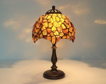 """Amber Ball Lamp - Table lamp. 7"""" lampshade made of natural Baltic amber. Stained glass lamp Tiffany lamp Decorative lampshade  Bedside lamp."""