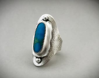 Sterling Shield Ring, Genuine Turquoise Jewelry, Wide Statement Ring, Gypsy Style Jewelry, Women's Silver Accessories, Metalsmith Jewelry.