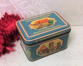 Vintage Lebkuchen Tin Box, Haeberlein Metzger German History Architecture Mid Century Pink Blue Antique Cookie Tin