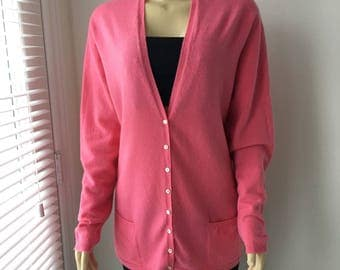 """Scottish Cashmere cardigan coral Sweater JOHN LAING Made in Scotland shell buttons luxurious knitwear gift for her plus size XL chest 48"""""""