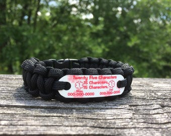 Create Your Own Paracord Allergy Bracelet   Kids Medical Alert Paracord Bracelet   Asthma Alert Adult and Child Size's, up to 4 lines
