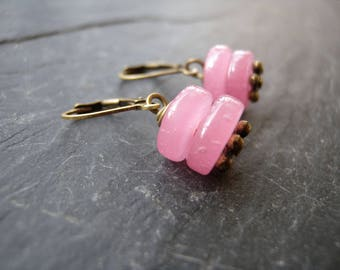 Earrings pink and bronze beads and sleeper