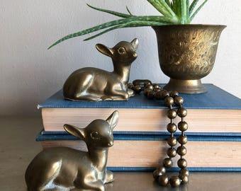 vintage pair of seated brass deer animal figurines woodland