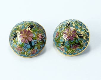 Plique a Jour Earrings, Chinese Enamel Earrings, Vintage Chinese Floral Plique a Jour Enamel Stained Glass Round Post Earrings