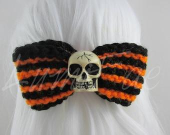 Striped Skull Bows, Halloween