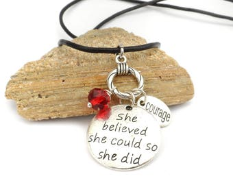 She Believed She Could So She Did Charm Necklace, Encouragement Gift for Friend, Sobriety Graduation Gift