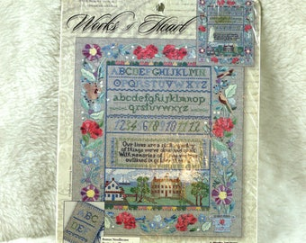 Memory Sampler, Counted Cross Stitch Kit, Leisure Arts 114516, Works of Heart, 11 x 13