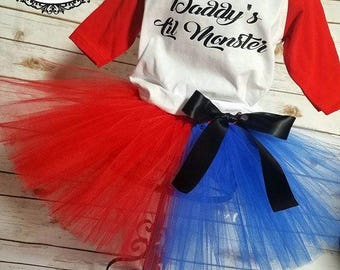 Daddy's Lil Monster tutu set | Harley Quinn costume | Halloween Costume | Halloween | 2T-XXXL Listing
