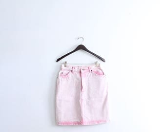 Pastel Pink 90s Denim Mini Skirt