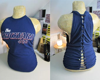 The Brickyard 400 NASCAR Refashioned Navy Blue T-Shirt into Tank Top with Back and Side Woven Cut-Outs