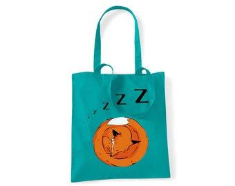 Green fox tote, Sleeping fox, shopping bag, shoulder canvas bag, fox handbag, hand painted