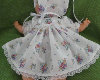 "doll dress, bloomers & bonnet made for your Tiny Thumbelina OTT14 ,15""doll,Thumbelina doll,doll clothes,doll,hand made,Thumbelina clothes,"
