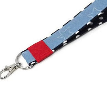 Chambray fabric wristlet keychain, red white and blue patriotic keyring, stars and polka dots key bracelet, ready to ship