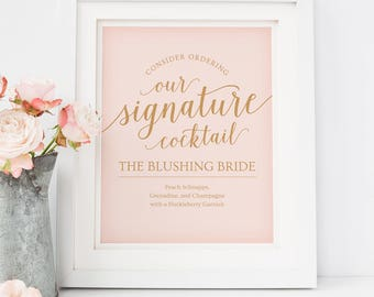 Signature Drink Sign Printable // Pink Wedding Bar Sign, Signature Cocktail Wedding // Editable Wedding Sign, Pink and Gold Wedding Template