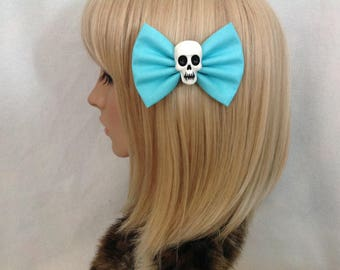 Light blue skull hair bow clip rockabilly psychobilly gothic Lolita rock bright punk pin up girl cute vintage skeleton fabric girls