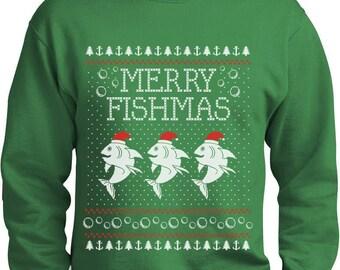 Merry Fishmas Fishing Ugly Christmas Sweater Funny Xmas Sweatshirt