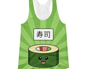 Sushi Happy Fun Time Foodie Womens All-Over Print Racerback Tank