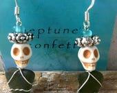 "Day of the Dead ""Khaki Green"" Genuine Surf Tumbled Bermuda Sea Glass Skull Earrings"