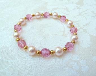 Swarovski Rose Pearl and Crystal Stretch Bracelet- Swarovski Rosaline Pearl Crystal Bracelet- Swarovski Bridesmaids Stretch Bracelet- 623