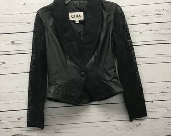 80's vintage leather and lace Chia jacket