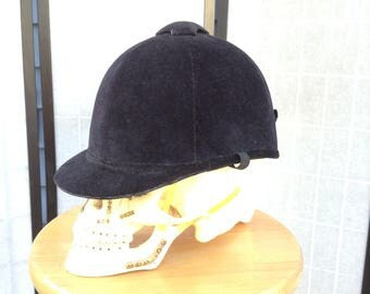 Vintage Riding Helmet, Equestrian Helmet, Black Velvet English Helmet