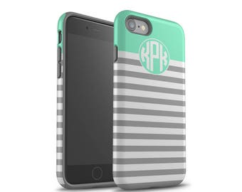 iPhone 7 Case, Monogram, iPhone 8 Plus Case, iPhone 7 Case, Galaxy S8 Case, iPhone 8 Case, Samsung Galaxy Case, Gray Stripes, Mint