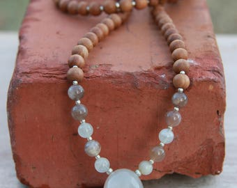 Grey Milky Moonstone Sandalwood Mala / Meditation Inspired Yoga Beads / mala beads BOHO chic