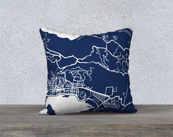 Charlotte Amalie St Thomas Map Pillow Cover