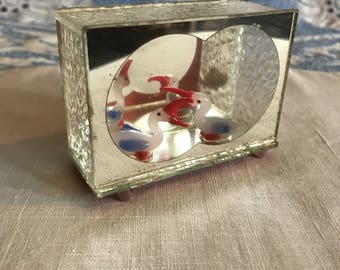 Midcentury Shadowbox Diorama Featuring Two White Birds