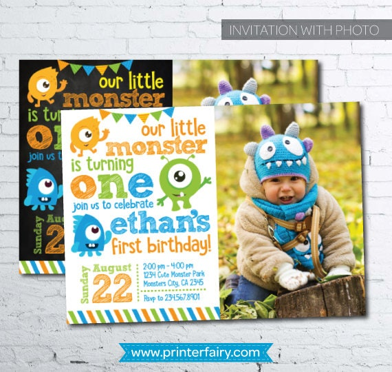 Little Monster Birthday Invitations with photo Monster Invitations