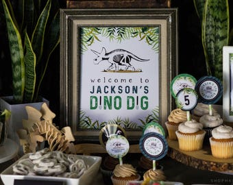 Dino Dig Sign, Dinosaur Party, Dino Welcome Sign, Boy Birthday Decor, Triceratops Sign, Paleontologist Party, Custom Welcome Sign, #40-2