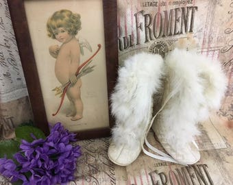Antique c1800s Baby Shoes / Doll Shoes / Rabbit-Fur-Quilted-Silk / Doll Booties / Unworn / Deadstock / Baptism / Christening