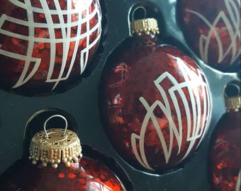 Set of 6 Pinstriped, Hand Painted, Green Glass Christmas Ornaments