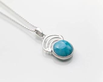 Larimar Pendant, Abanico, Larimar and Silver Jewelry handcrafted in the Dominican Republic