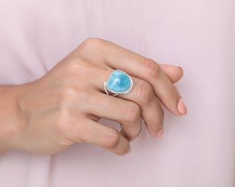 Larimar Ring Size 7, Charco, Blue Larimar Jewellery from Dominican Republic, 100% Handcrafted
