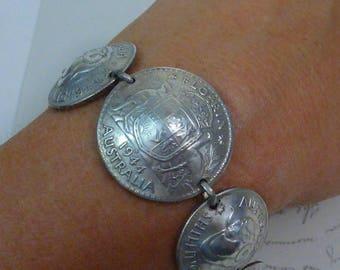 VINTAGE sterling AUSTRALIAN FLORIN love token sweetheart coin bracelet