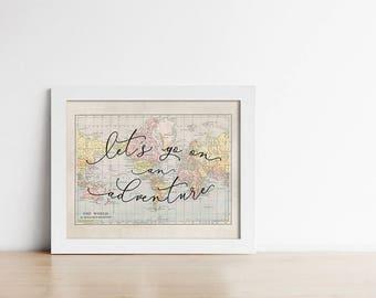 World Map PRINTABLE Art - Let's Go On An Adventure -  Apartment Decor - Graduation Gift - Horizontal - Inspirational - SKU:9110