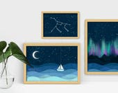 Parade Under the Stars. Large and Small Constellation Galaxy Tapestry Themed Prints. Northern Lights. Ursa Major Seascape Nursery Bedroom.