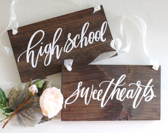 High School Sweetheart Signs, Wooden Wedding Signs, Wedding Chair Signs, Photo Prop Signs | 10x5.5 Set