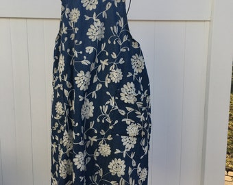Floral Embroidered Chambray Apron - Japanese Cross Strap Apron