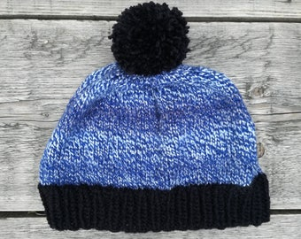 Blue knitted beanie with black pompom - Wooly hat , Winter hat , Knitted cap , Bobble hat