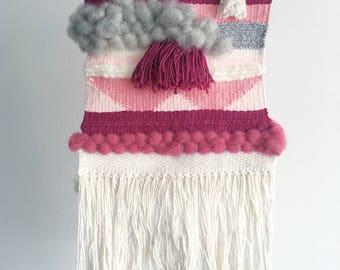 No 1   Woven Wall Hanging   Pink Grey Cream