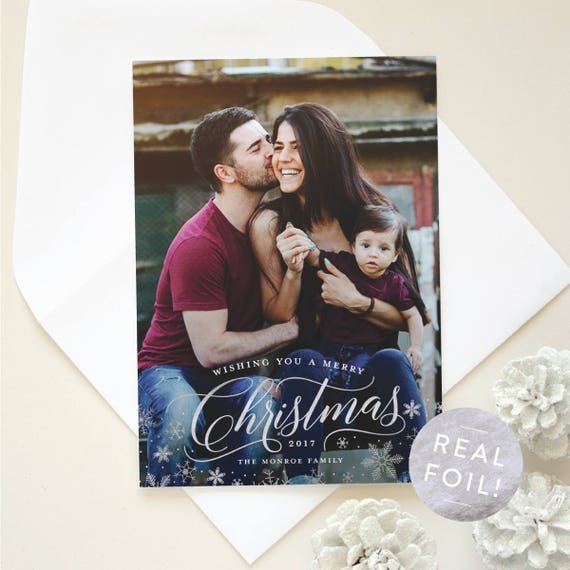 Christmas Card with Foil Stamping, Family Holiday Cards with Silver Foil Snowflakes, Portrait Photo Card with Vertical Layout  | Glistening
