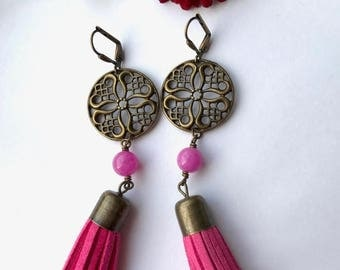 Summer Sale Fuchsia (Hot Pink) Suede Tassel Earring, Malaysian Jade and Antique Bronze Filigree accents, OOAK